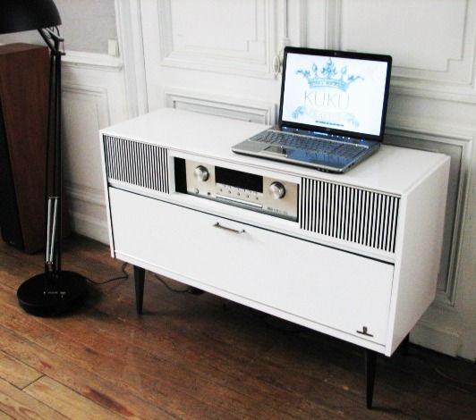 Meuble Television Et Hifi Vintage Noir Et Blanc Meubles Et Rangements Par Kukupraline Meuble Hifi Meuble Stereo Mobilier De Salon