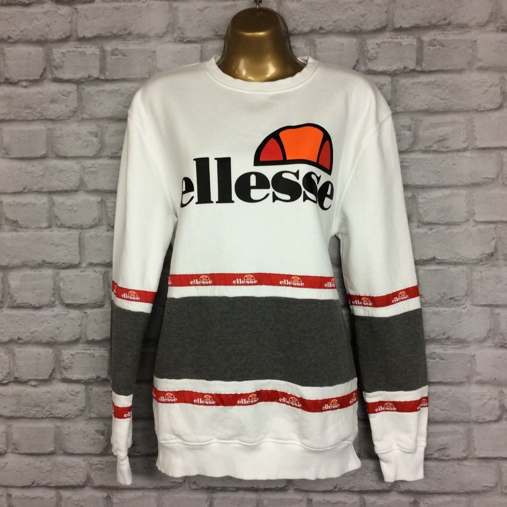 638e2a6a ELLESSE LADIES UK 12 TAPE PANEL CREW SWEATSHIRT WHITE GREY RED ...