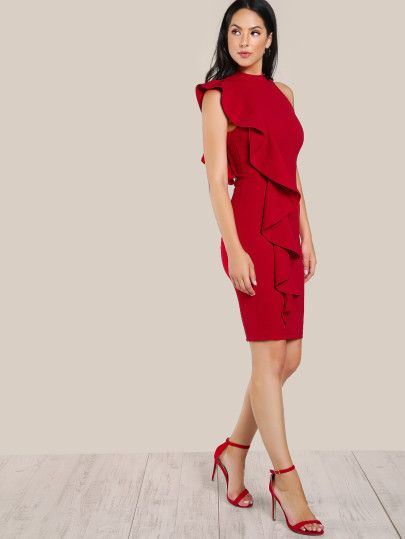 753c9aab8a2 One Sided Exaggerated Frill Dress
