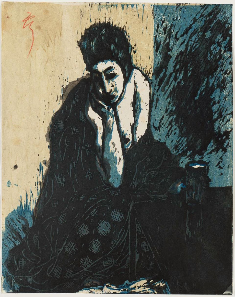 Koshiro Onchi  Woman with Hand on Chin, 1913  woodblock print