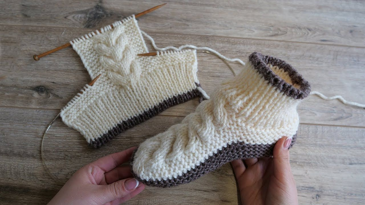 Photo of Следки – сапожки с косами спицами | Homemade knitted slippers