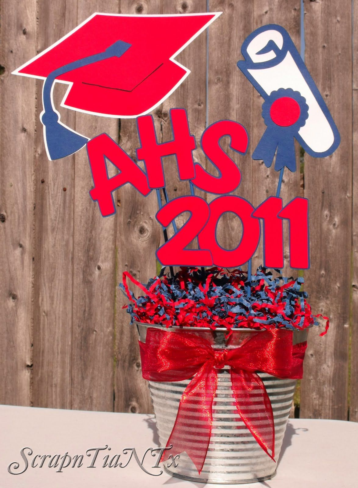 Graduation table decorations homemade - A Scrapn Tia N Tx Homemade Graduation Centerpiece