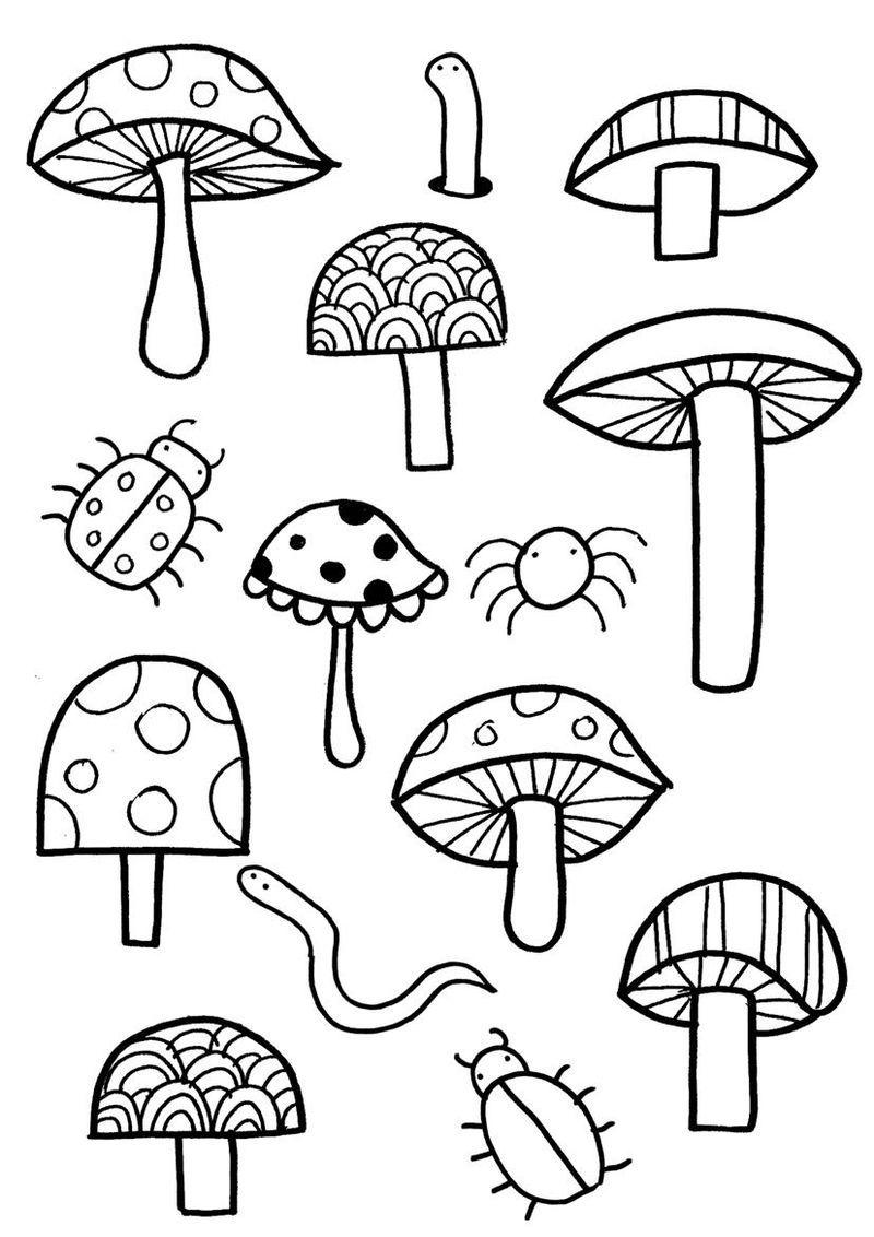 Cute Garden Mushrooms Coloring Page Coloring Pages Garden Coloring Pages Emoji Coloring Pages