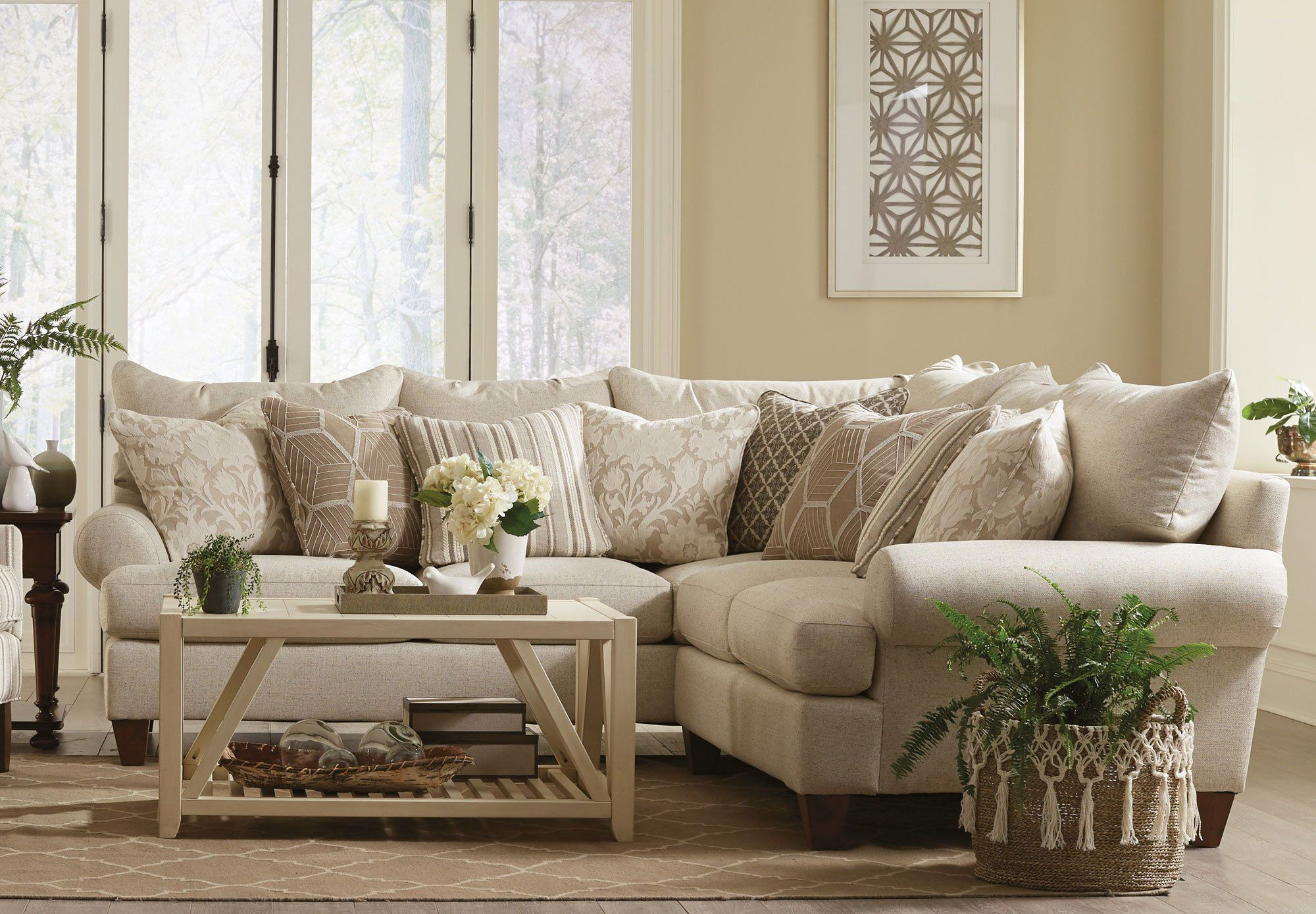 traditional beige sectional sofa with