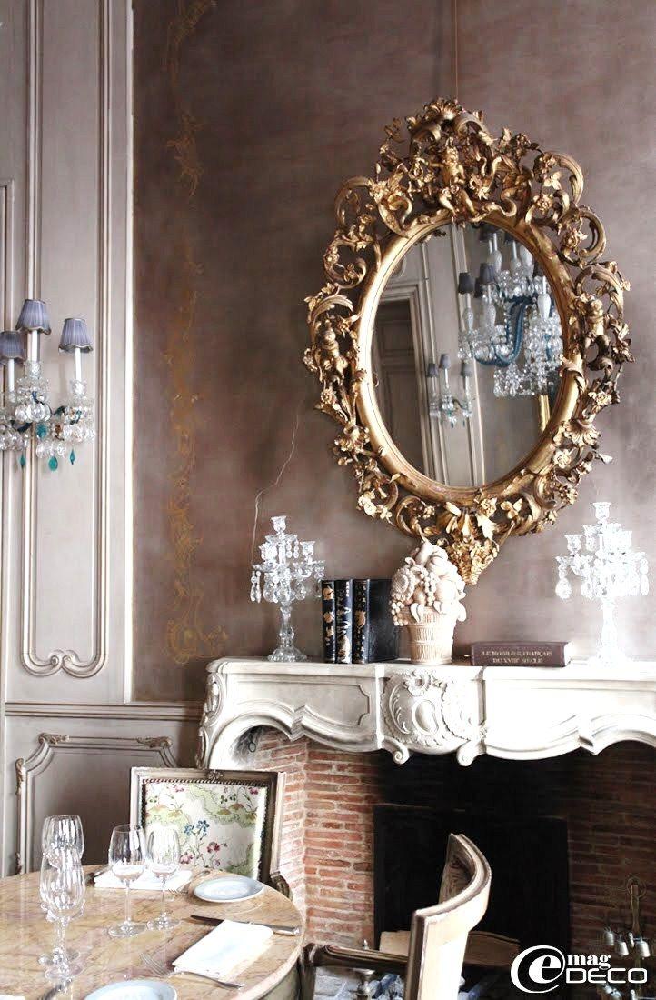Inspiración francesa. Espejo barroco. Chimenea estilo Luis XV ...