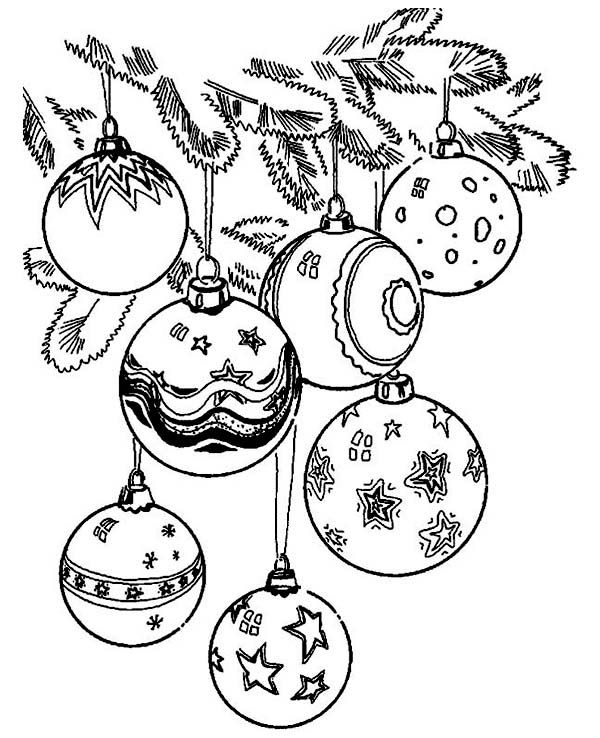 Christmas Beautiful Of Christmas Ball Ornaments Coloring Page