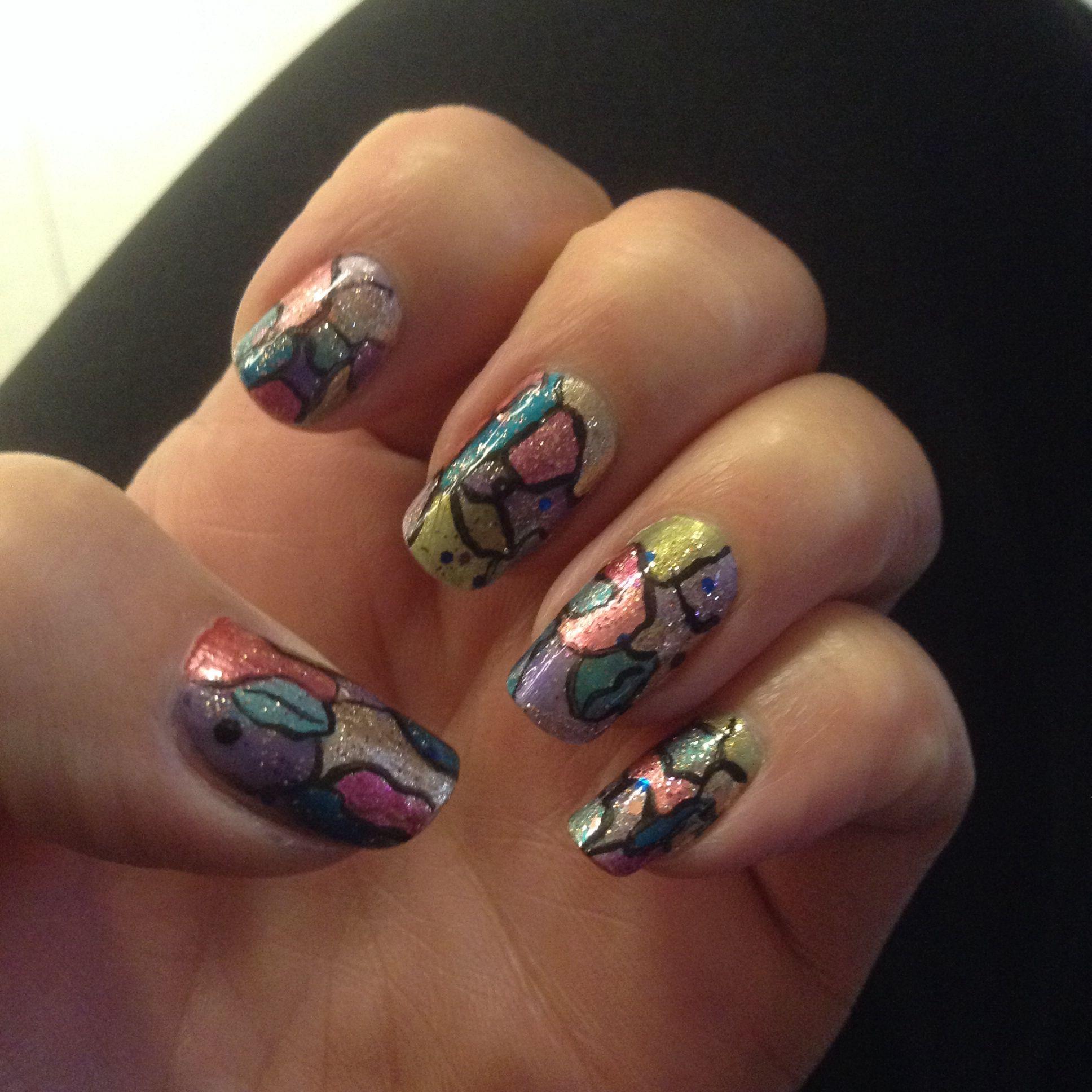 Stained Glass Nail Art: Stained Glass Nails. Nails By Nancy :)