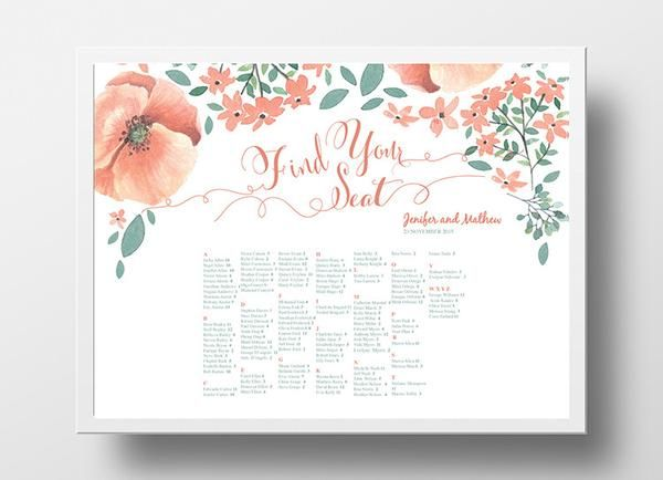 Wedding seating chart landscape poster diy editable powerpoint template floral peach and green also rh pinterest