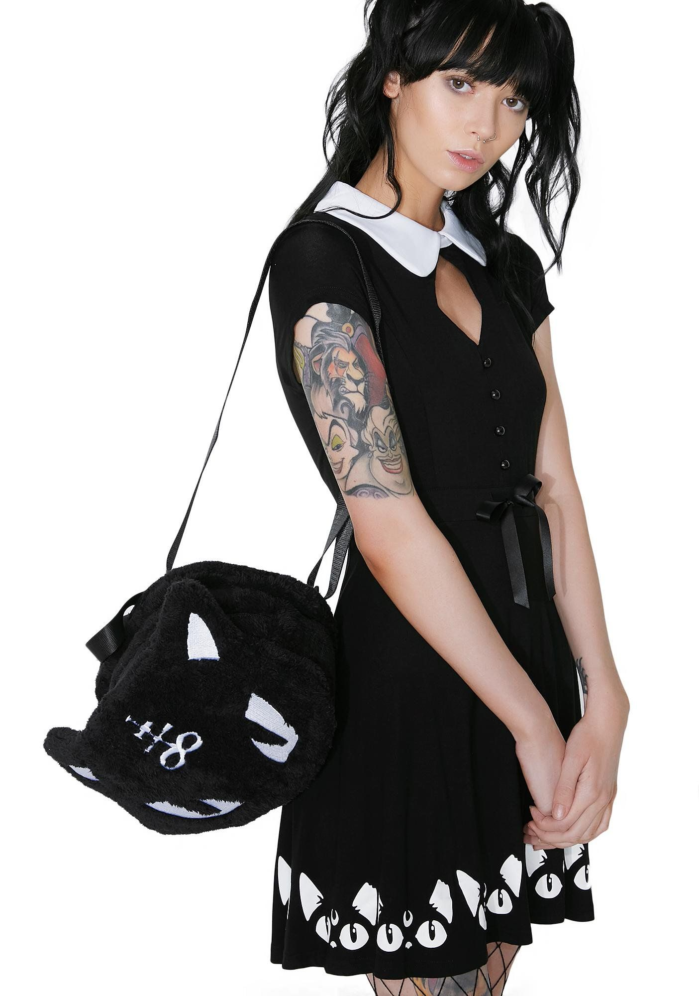 4375fcd2 Killstar Keiko Kitty Skater Dress Drawstring Waist, Skater Dress, Street  Wear, Cord