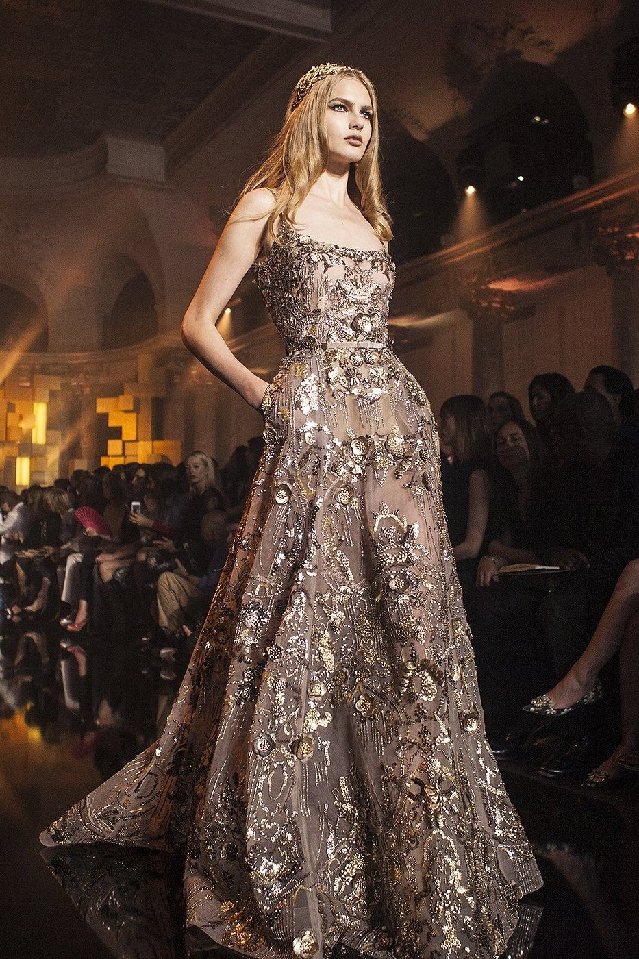Sequined gold elie saab haute couture ph fashionwirepress