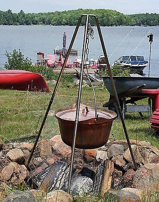 Hand Made Copper Cauldron Picnic Kettle Pot Campfire Cooking Tripod 8 Liters 2 Gallons Campfire Cooking Cauldron Wood Heater