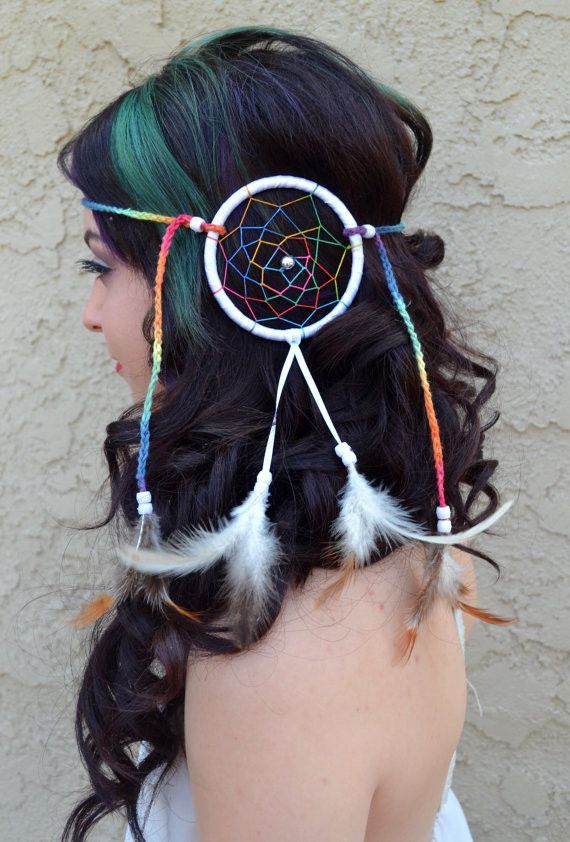 Extra Large Rainbow Dreamcatcher Feather Headband With Natural Feathers And  White Pearl Beads 2464786e4f4