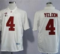 Alabama Crimson Tide  4 T.J Yeldon White Limited 2016 College Football  Playoff National Championship Patch Stitched NCAA Jersey 02c08e920