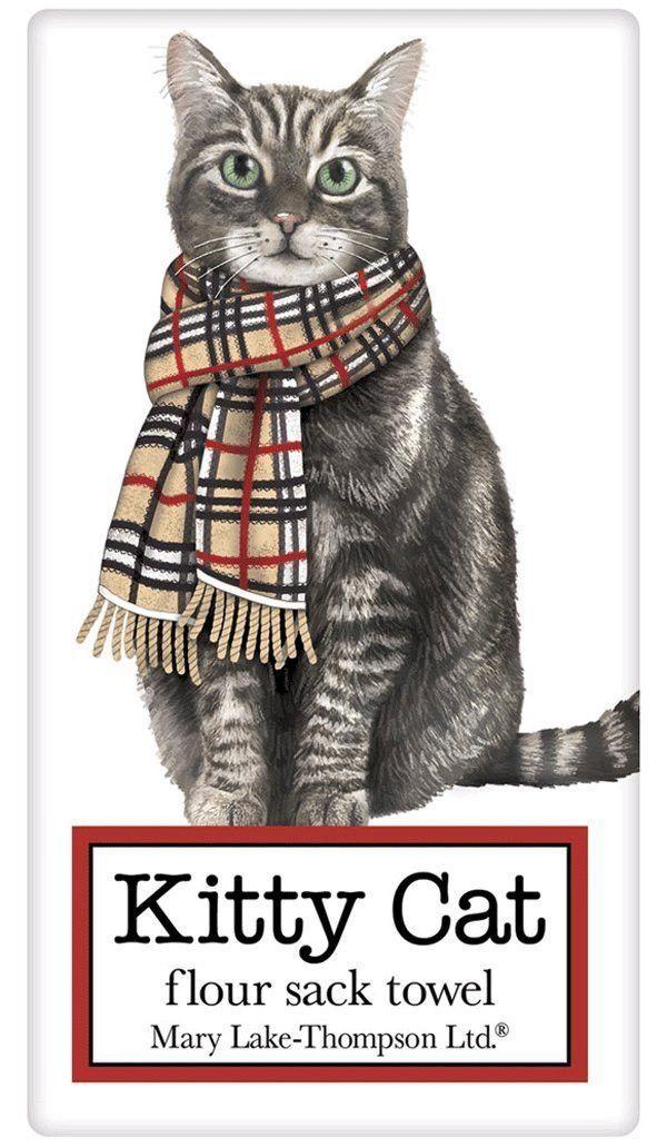 Burberry Holiday Tabby Cat 100% Cotton Flour Sack Dish Towel Tea Towel