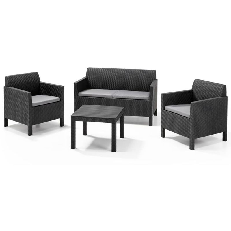 Allibert Salon De Jardin 4 Pcs Orlando Graphite 226515 Canape