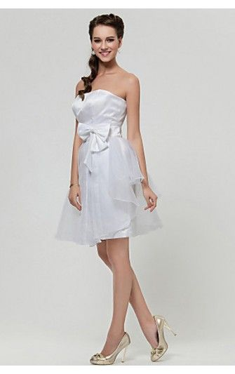 e1d1ed0ff3 Alluring A-line Strapless Short White Organza With Bow Dress ...
