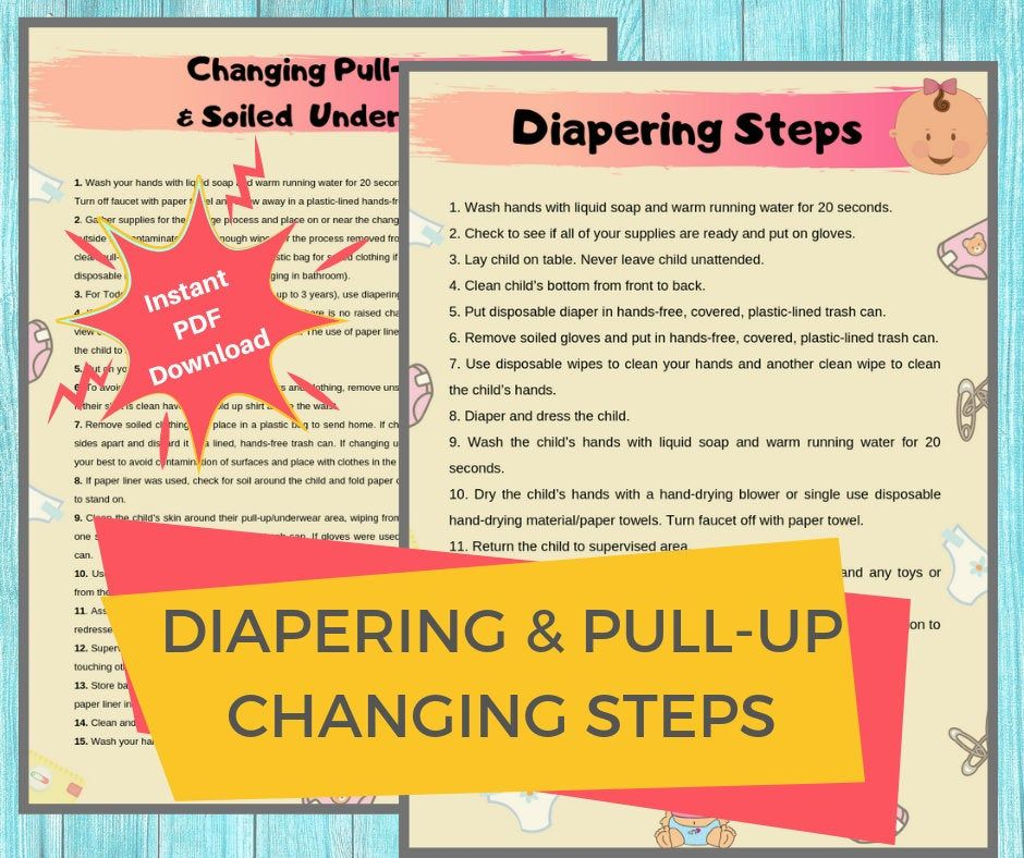 Diaper Changing Steps Daycare Printable Diapering Pull Up Etsy Diaper Changing Diaper Toddler Toddler Teacher