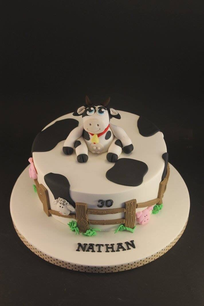 Wondrous Fondant Cow Theme Cake For Nathan With Images Cow Cakes Farm Funny Birthday Cards Online Overcheapnameinfo