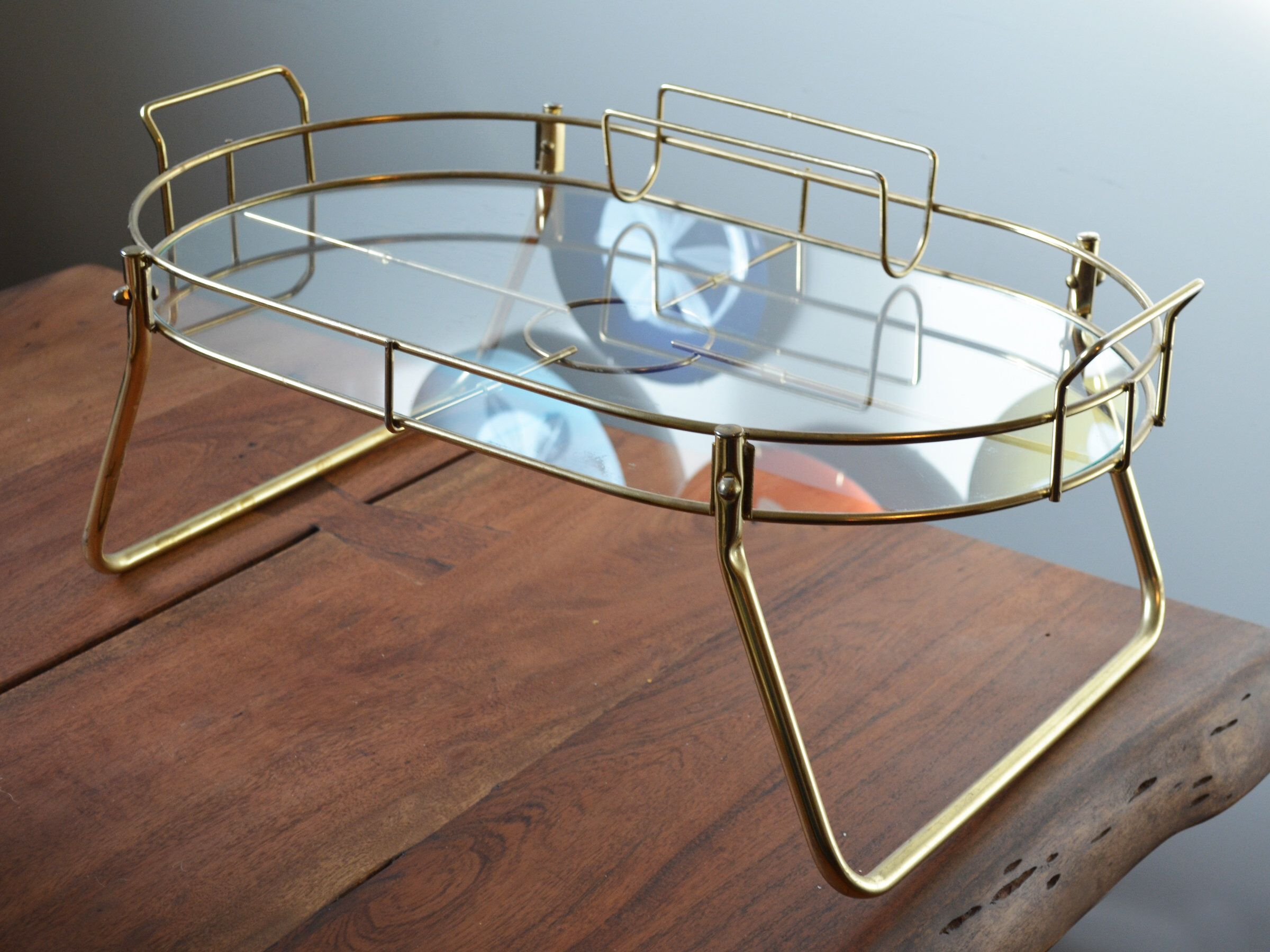 Vintage Brass Breakfast In Bed Tray 25 Across Glass Surface Hollywood Regency Bedroom Circa 1970s Bed Tray Breakfast In Bed Vintage Brass