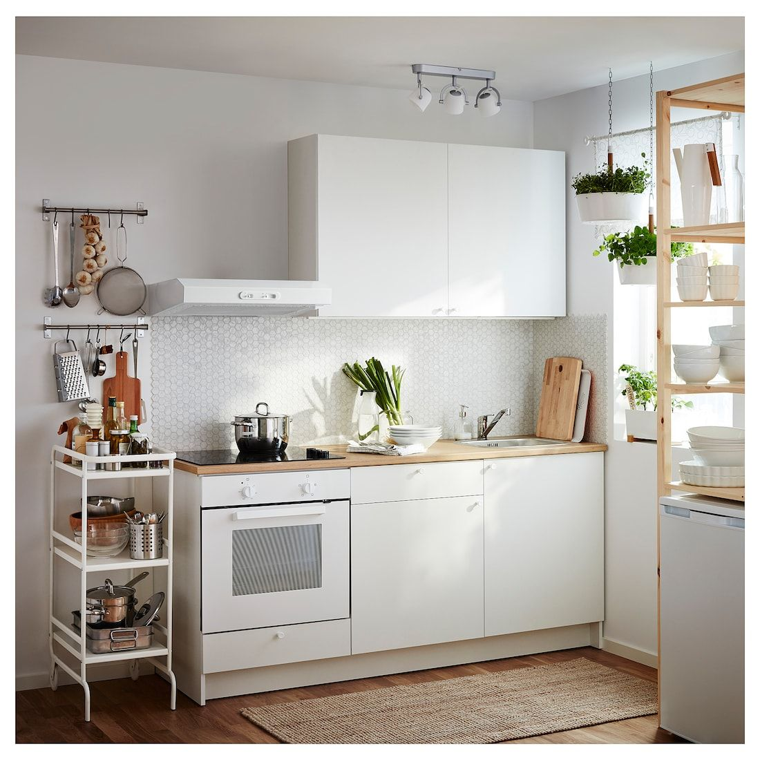 "Petite Cuisine Equipée: Base Cabinet With Doors And Drawer, White, 48x24x36 "" En"