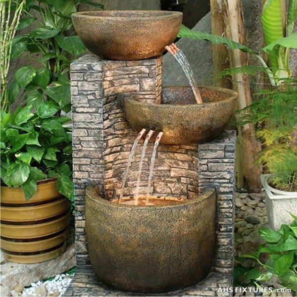 Free shipping and no sales tax on all large outdoor water for Garden waterfall fountain
