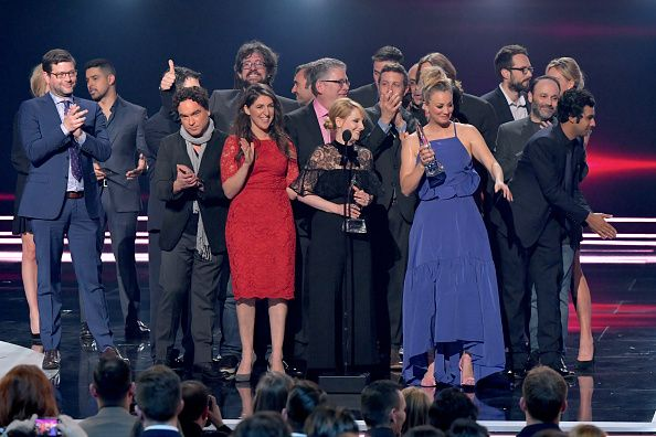 The cast and crew of 'The Big Bang Theory' accept the Favorite Network TV Comedy award onstage during the People's Choice Awards 2017 at Microsoft...