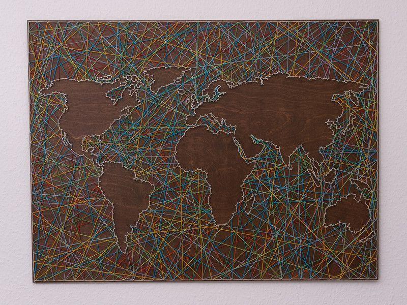 Fancy Wanddeko Weltkarte Fadenbild ein Designerst ck von schnuerstueck bei DaWanda