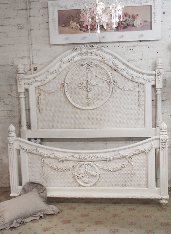 Painted Cottage Shabby Tea Stained Romantic Angel Bed BD18