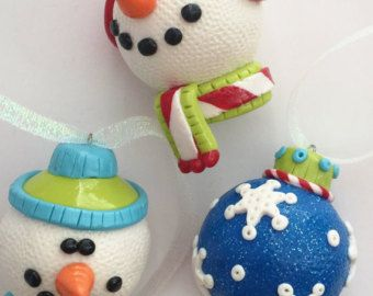 Christmas Ornaments Snowman  and Snowflake Handmade Polymer Clay Glass Covered Ornies ( 3 )