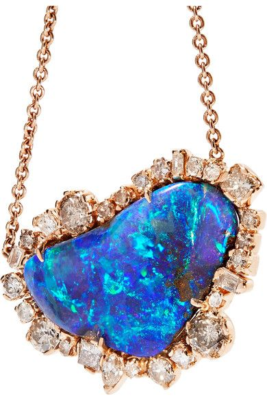 18-karat Gold, Diamond And Opal Necklace - one size Kimberly McDonald