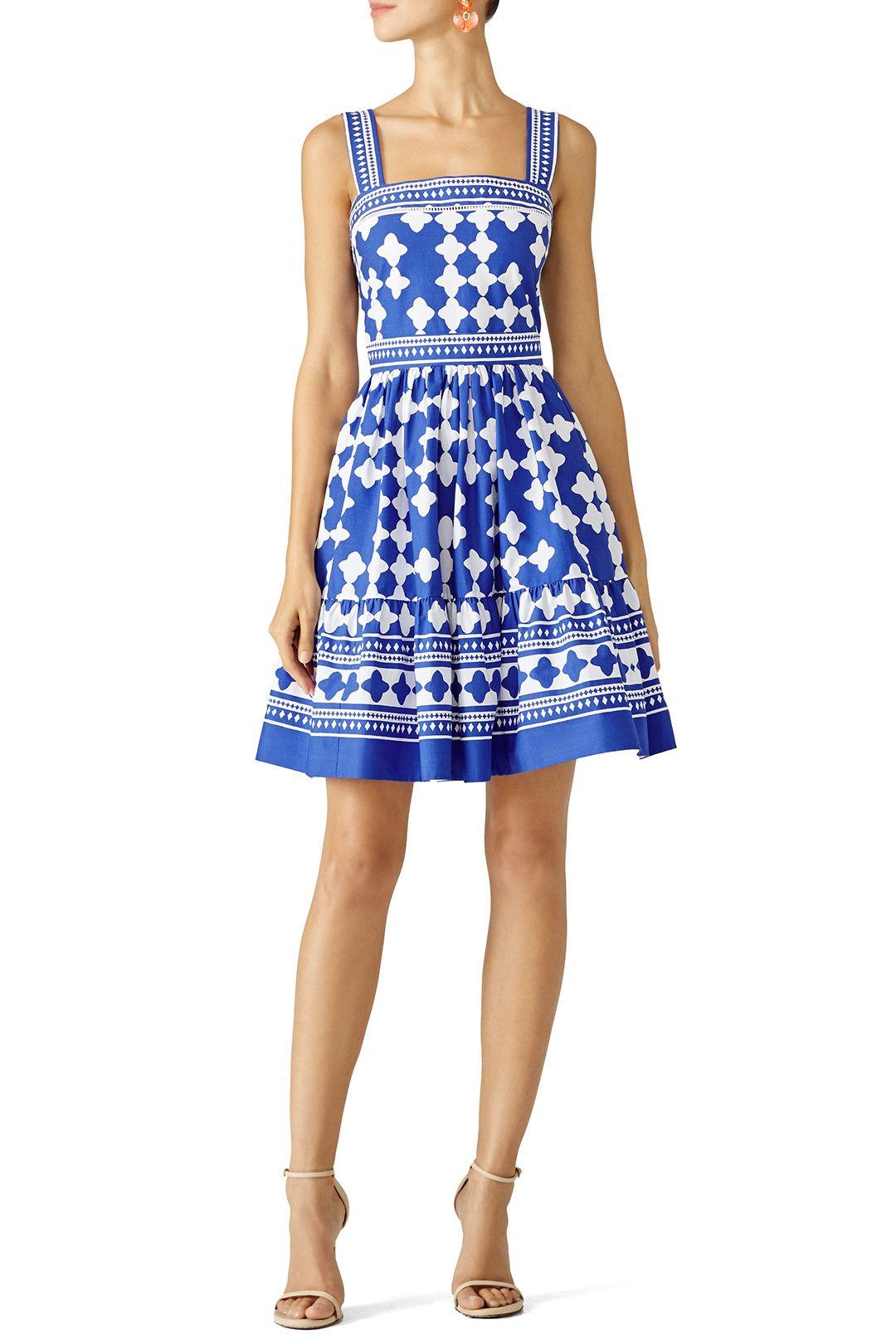 Where can i rent a wedding dress  Blue Lantern Poplin Flounce Dress  Summer Wedding Dresses