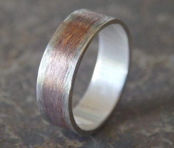 RUSTIC TEXTURED Silver Copper Mens Wedding Band By PaulZozem