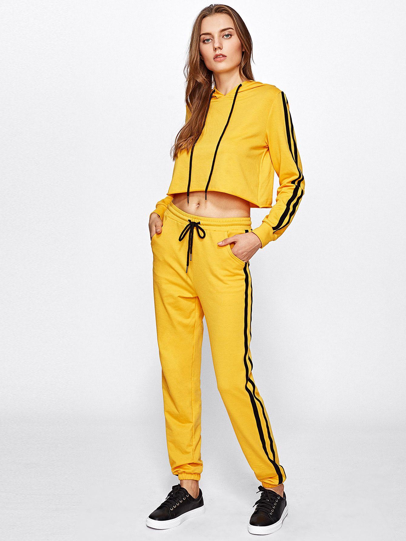 Shop Striped Raw Hem Hoodie And Sweatpants Set online