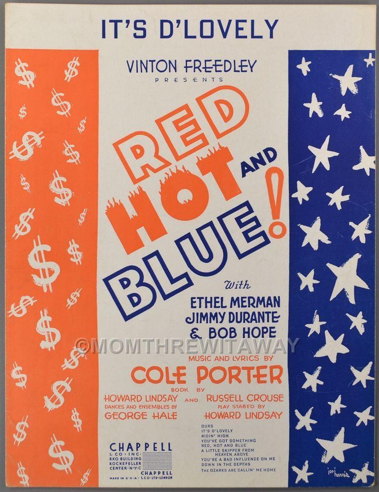 Lyric cole porter lyrics : 1936 IT'S D'LOVELY Sheet Music COLE PORTER Red Hot & Blue ETHEL ...