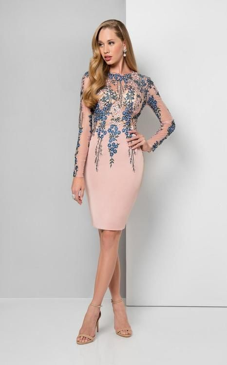 21a6df75519 Terani Couture - 1711C3027 Shimmering Long-Sleeve Illusion Cocktail Dress  in Blush Multi (knee-length
