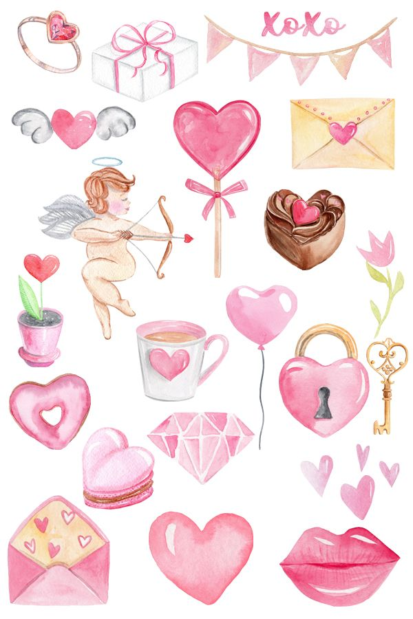Valentines Day watercolor clipart - Pink hearts clip art ...