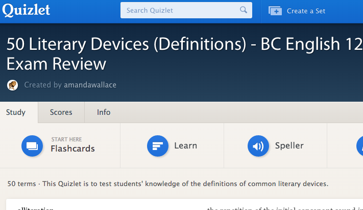 50 literary devices: http://quizlet.com/21450317/50-literary-devices-definitions-bc-english-12-provincial-exam-review-flash-cards/