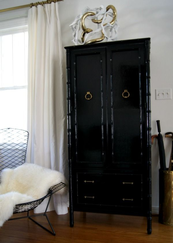 Hollywood Regency Bamboo Armoire In Black Lacquer