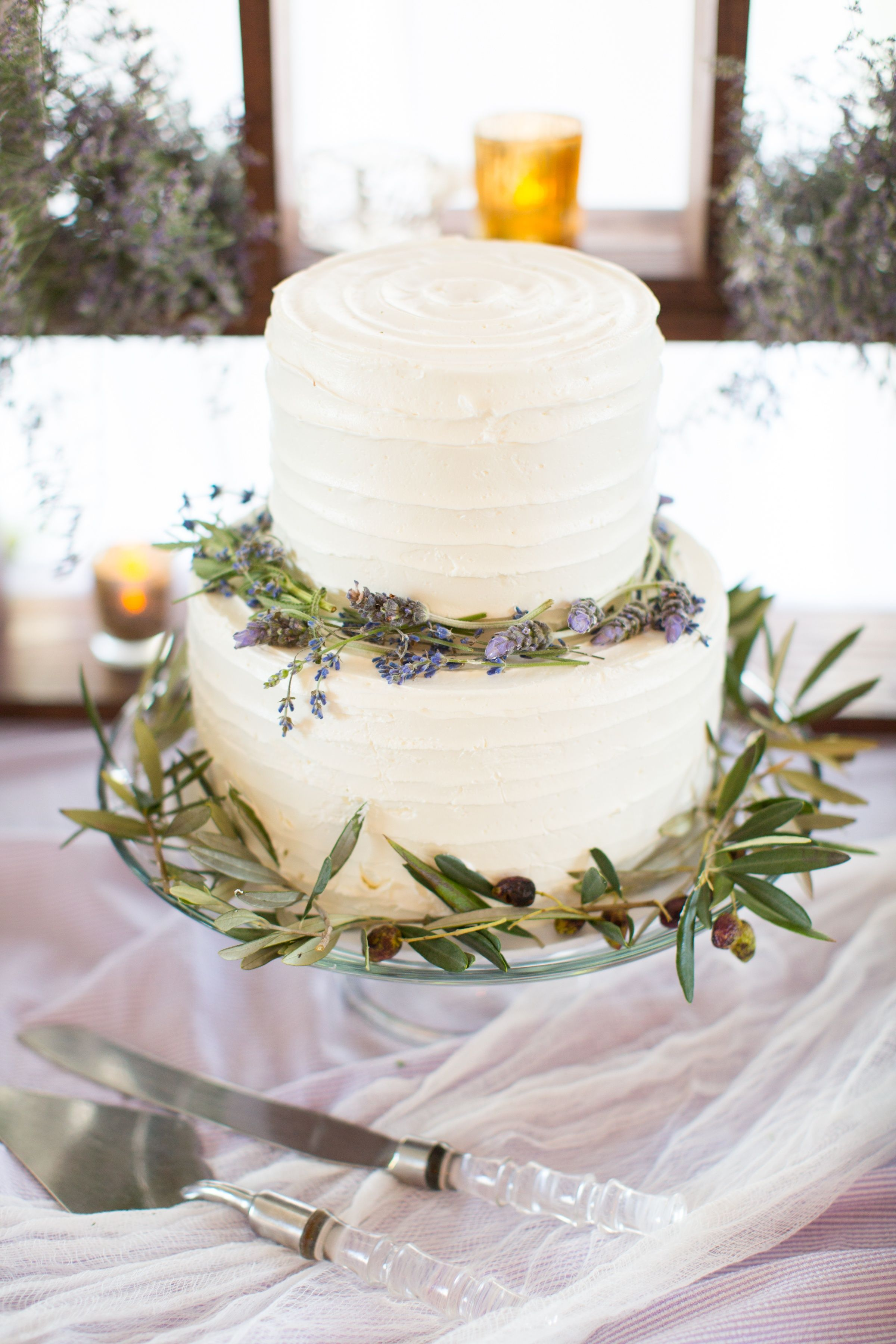 Lavender and Olive Leaf Wedding Cake   Jodee\'s Bakery   Birds of a ...