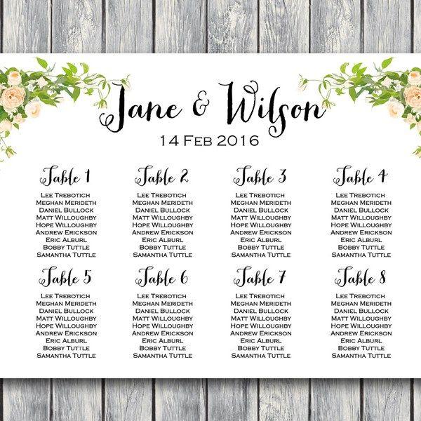 Custom Peonies Wedding Seating Chart Printable Wd12 Seating
