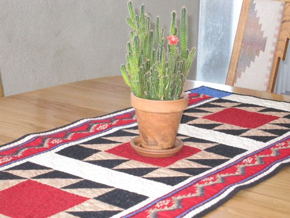Southwest Red Black And Tan Table Runner