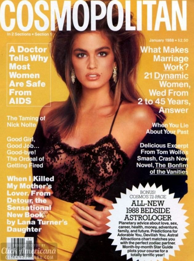 Cindy Crawford's Cosmopolitan & Vogue covers of the 1980s