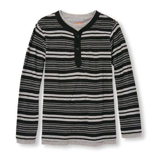 The Childrens Place Big Boys Long Sleeve Stripe Shirt