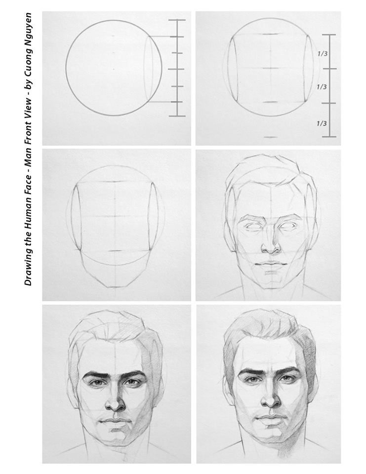 Drawing The Human Face Man Front View By Cuong Nguyen In