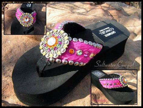 6ceeaf2de273 Funfetti Magenta Cowhide Swarovski Flip Flops-cowgirl jewelry ...