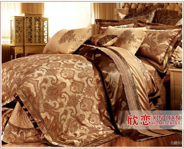 Best 9 Pcs Gold Comforter Set Luxury Hot Sale Bedding Set King 400 x 300