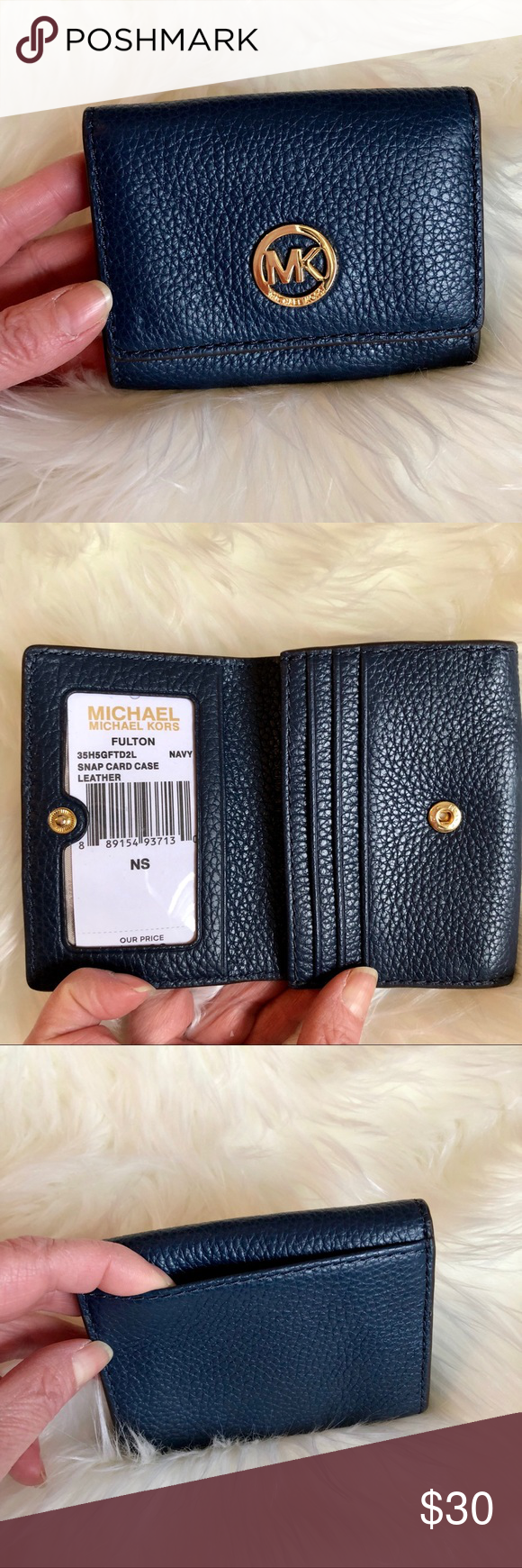 4b7a97921f6f Michael Kors Fulton Navy Snap Case Case NWT Michael Kors Navy Fulton Snap  Card Case. Rich pebbled leather with gold hardware. Snap closure with card  slots.