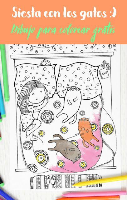 Siesta con los gatos , DIBUJO PARA COLOREAR GRATIS | zentagle y ...