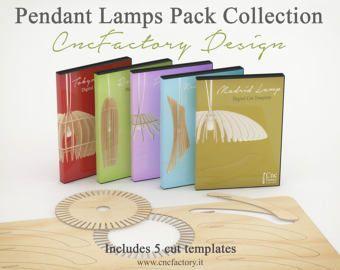 Anhänger Lampen Pack Collection   5 Vorlagen Anhänger Lampen / Decke Ligth  Pläne Schneiden Datei Kronleuchter