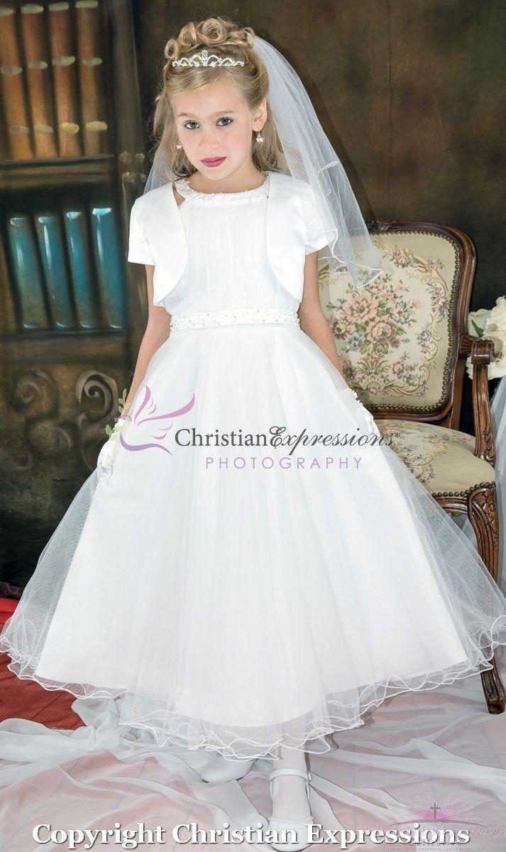 Modern First Communion Dress With Bolero Jacket First Communion Dresses Girls First Communion Dresses Communion Dresses [ 1200 x 713 Pixel ]